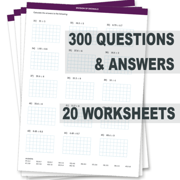 Division of Decimals Worksheets 300 Questions and Answers