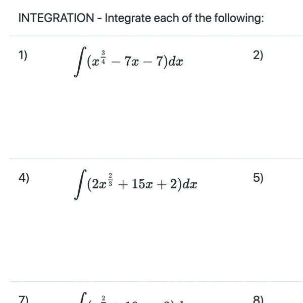Integration Worksheets with Fractional Powers